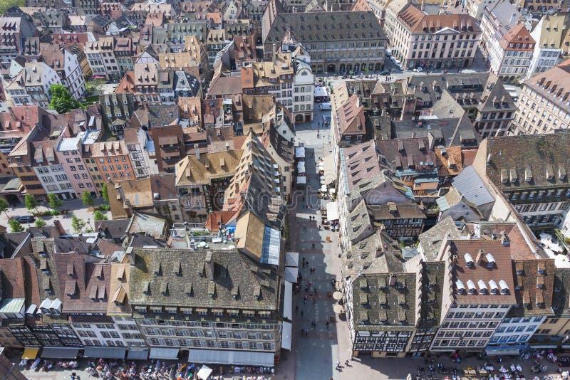 Widok z lotu ptaka Strasburski stary miasteczko, Alsace, Francja zdjęcia stock