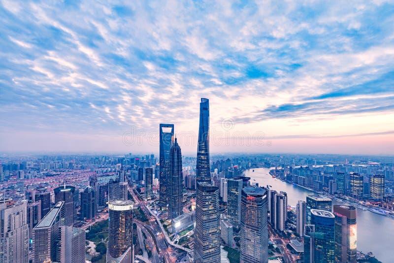 Widok z lotu ptaka Szanghaj miasto zdjęcia royalty free