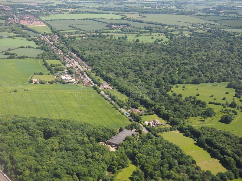 Widok z lotu ptaka Takeley i Hatfield las obraz royalty free