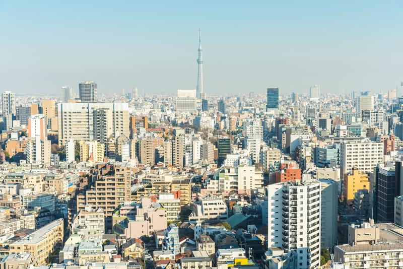 Widok z lotu ptaka Tokio miasta nieba linia z Tokio skytree fotografia stock