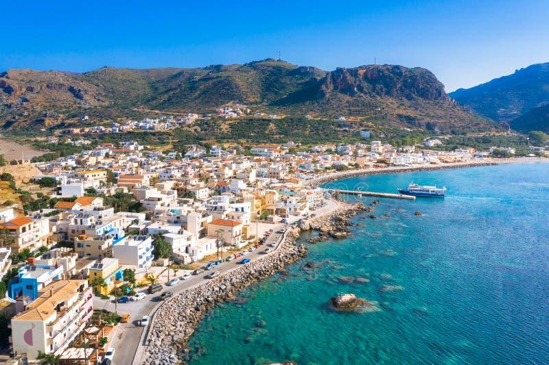 Widok z lotu ptaka tradycyjna wioska Paleochora, Chania, Crete, Grecja obrazy royalty free