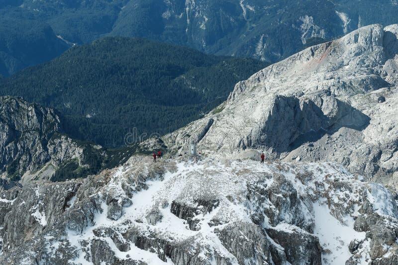 Widok z lotu ptaka Triglav'a na szczyt górski i wspinaczki alpejskie fotografia royalty free