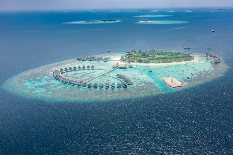 Widok z lotu ptaka tropikalna wyspa w turkus wodzie Luksusowe wod wille na tropikalnym wyspa kurorcie Maldives zdjęcie stock