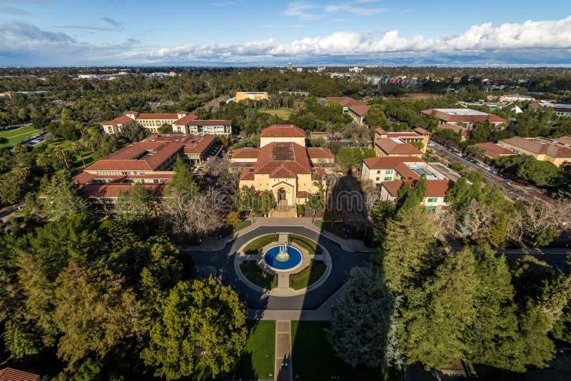 Widok z lotu ptaka uniwersyteta stanforda kampus - Palo Alto, Kalifornia, usa obrazy stock