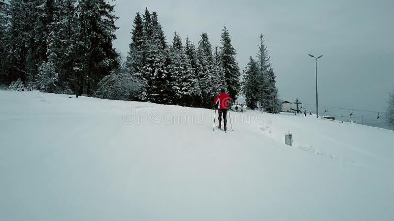 Widok z lotu ptaka unrecognizable mężczyzna w czerwonym narciarstwie w średniogórzach zdjęcia stock
