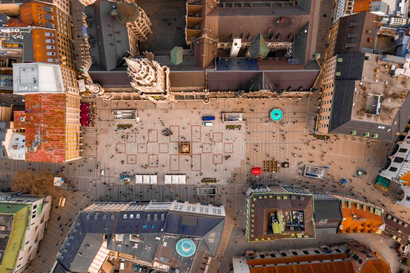 Widok z lotu ptaka urząd miasta Rathaus w Marienplatz obrazy royalty free