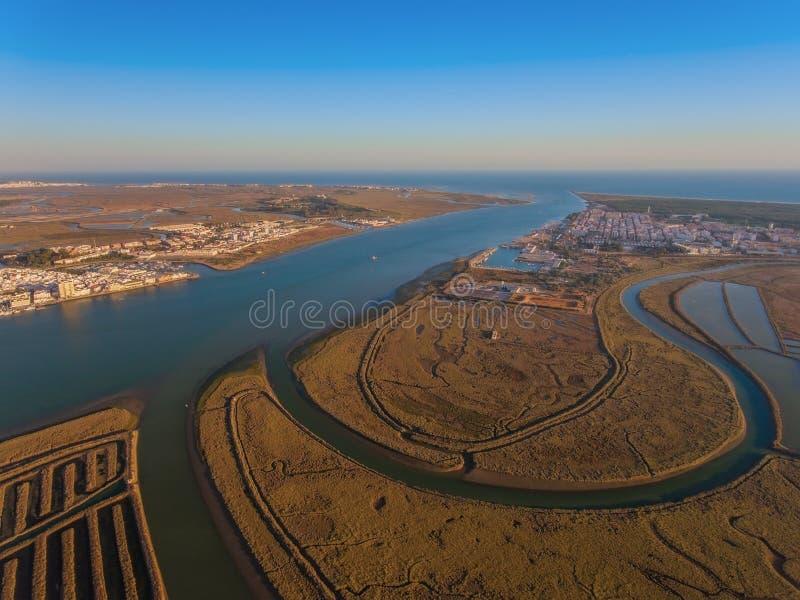 Widok z lotu ptaka usta Guadiana rzeka obraz royalty free
