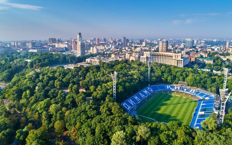 Widok z lotu ptaka Valeriy Lobanovskyi dynama stadium w Kijów, Ukraina obrazy royalty free