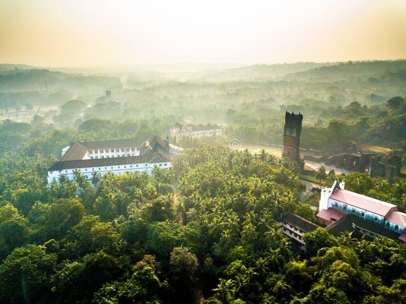 Widok Z Lotu Ptaka Velha Goa w Goa India obraz royalty free