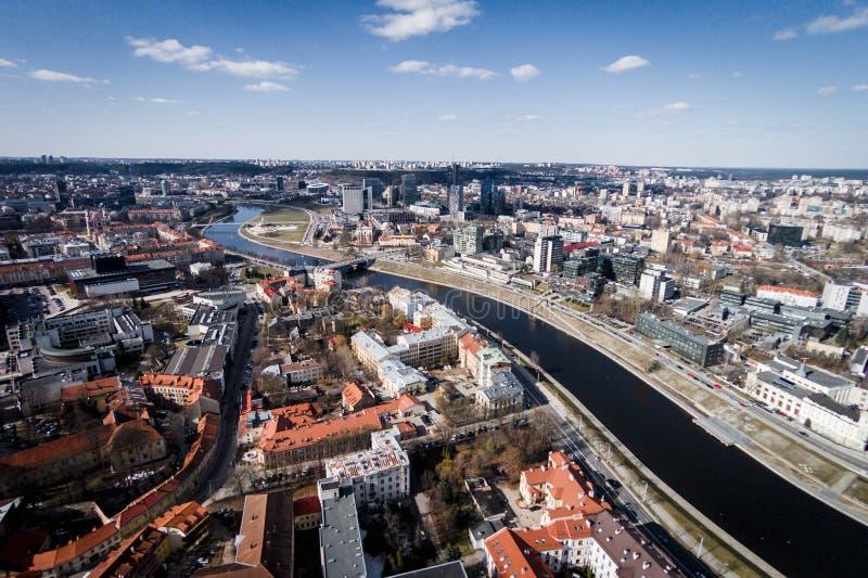 Widok z lotu ptaka Vilnius miasto Neris i rzeka Lithuania zdjęcia royalty free