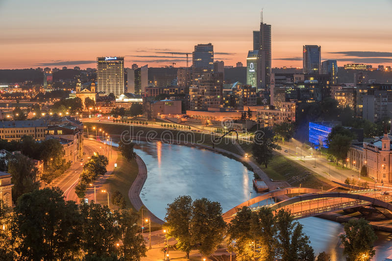 Widok z lotu ptaka Vilnius, stolica Lithuania fotografia stock