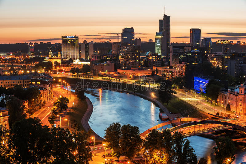 Widok z lotu ptaka Vilnius, stolica Lithuania obraz stock