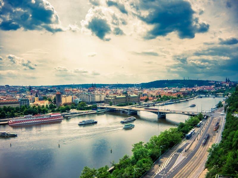 Widok z lotu ptaka Vltava rzeka obrazy stock