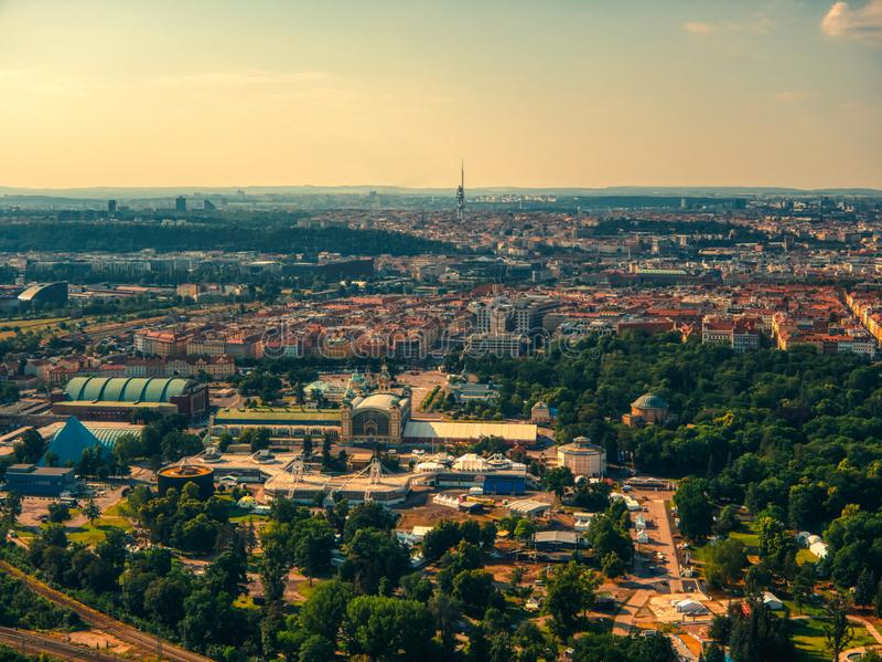 Widok z lotu ptaka Vystaviste w Praga zdjęcia royalty free