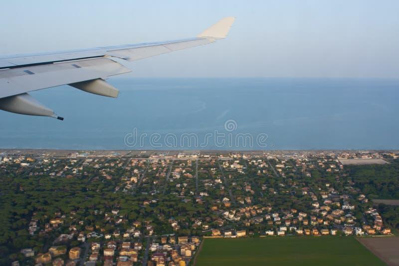 Widok Z Lotu Ptaka Włoski plantacja krajobraz w Tuscany brać od samolotu w locie na plamy tle zdjęcia royalty free