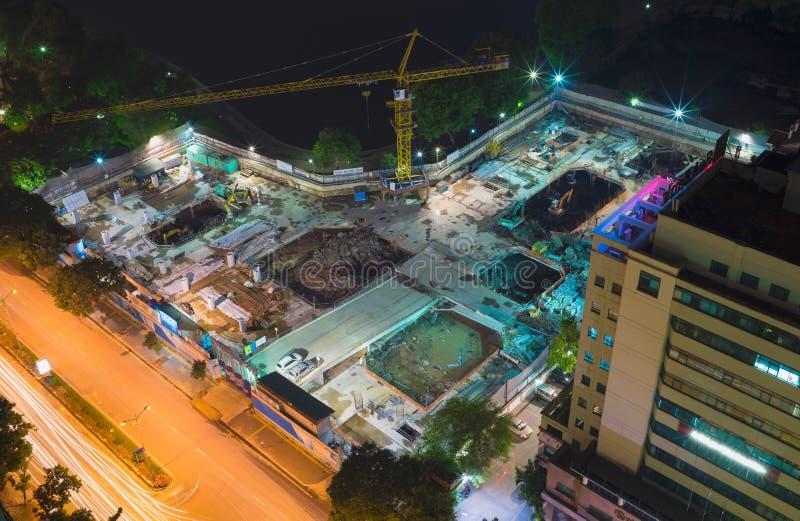 Widok z lotu ptaka w budowie miejsce w Lang brzęczeniach ulicy, Hanoi miasto, Wietnam obrazy royalty free