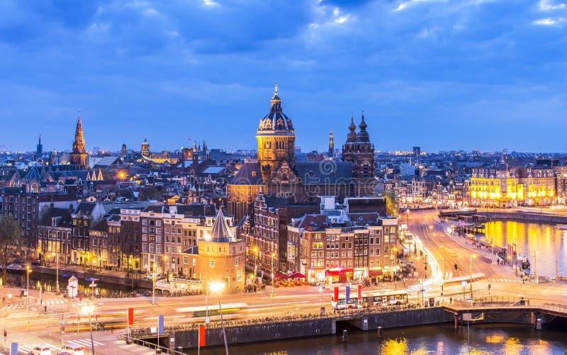 Widok z lotu ptaka w centrum Amsterdam zdjęcie royalty free