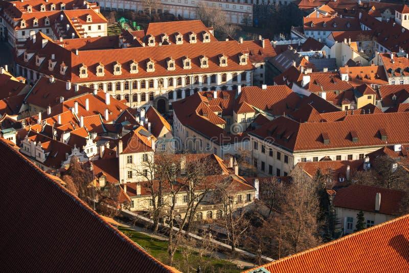 Widok z lotu ptaka w Pradze Republika Czeska zdjęcia royalty free