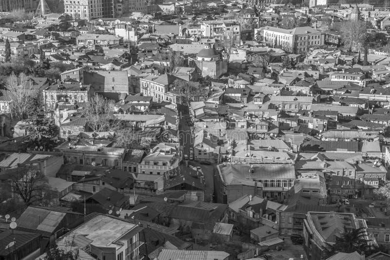 Widok z lotu ptaka w wysokim kontrascie czarny i biały Tbilisi, Gruzja zdjęcie stock
