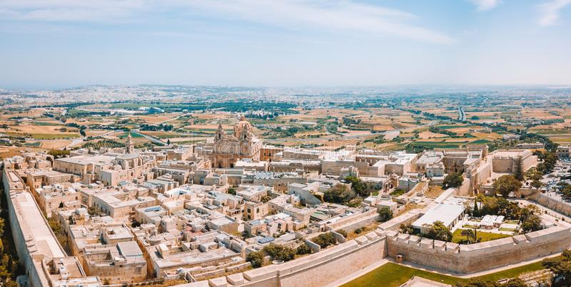 Widok z lotu ptaka warowna stolica Malta zdjęcie stock