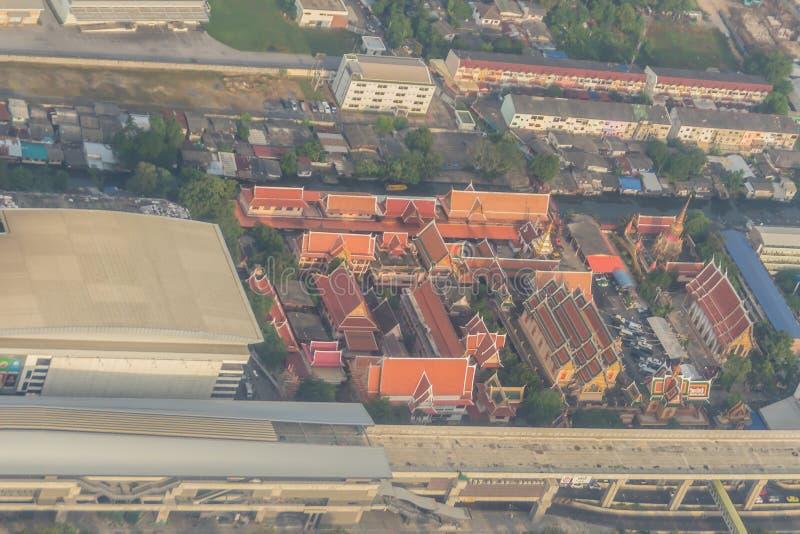 Widok z lotu ptaka Wata Laksi świątynia, Bangkok, Tajlandia obraz stock