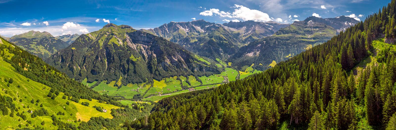 Widok z lotu ptaka wiąz wioska i szwajcar góry - Piz Segnas, Piz Sardona, Laaxer Stockli od Ampachli, Glarus, Szwajcaria, Europ obraz stock