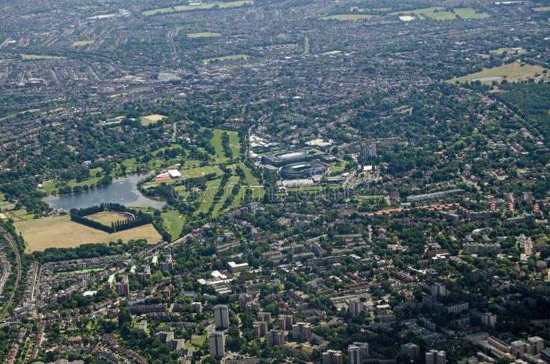 Widok z lotu ptaka Wszystkie Anglia gazonu Tenisowy klub, Wimbledon zdjęcia royalty free