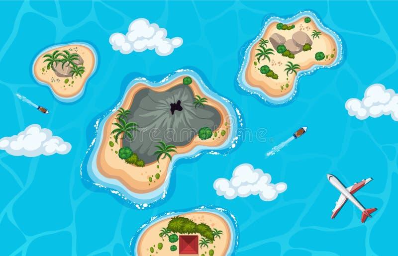Widok z lotu ptaka wyspa i samolot ilustracji