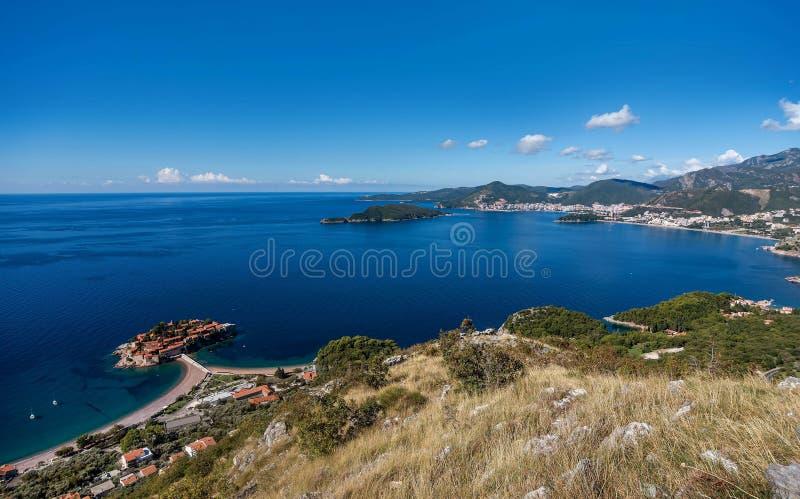 Widok z lotu ptaka wyspa Sveti Stefan, Montenegro fotografia stock