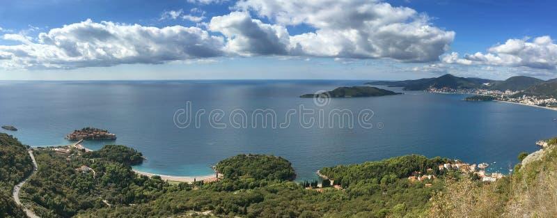 Widok z lotu ptaka wyspa Sveti Stefan, Montenegro obrazy stock