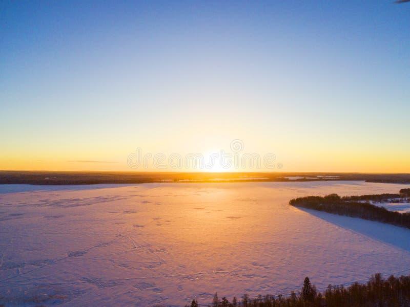 Widok z lotu ptaka złocisty zmierzch nad zimy zimy lasu śnieżystą sosnową lasową teksturą widok z lotu ptaka Powietrzny trutnia w obraz stock