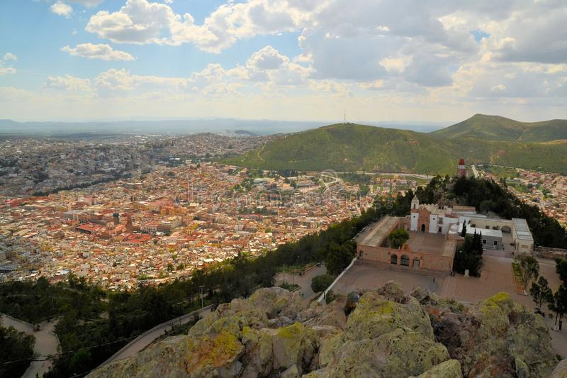 Widok z lotu ptaka Zacatecas, kolorowy kolonialny miasteczko obraz royalty free