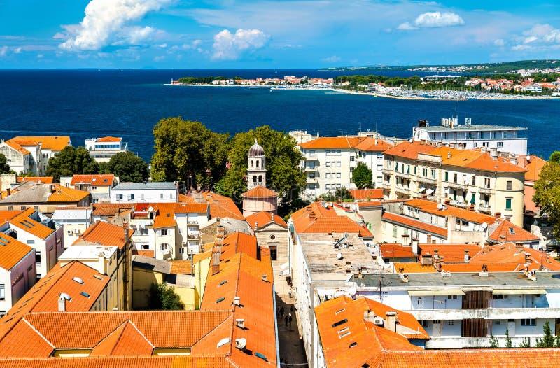 Widok z lotu ptaka Zadar stary miasteczko w Chorwacja obraz stock