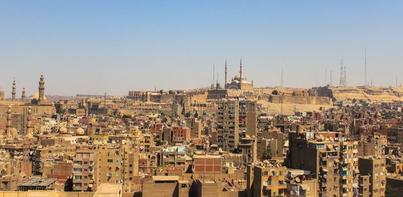 widok z lotu ptaka zatłoczony Cairo w Egypt w Africa obrazy royalty free