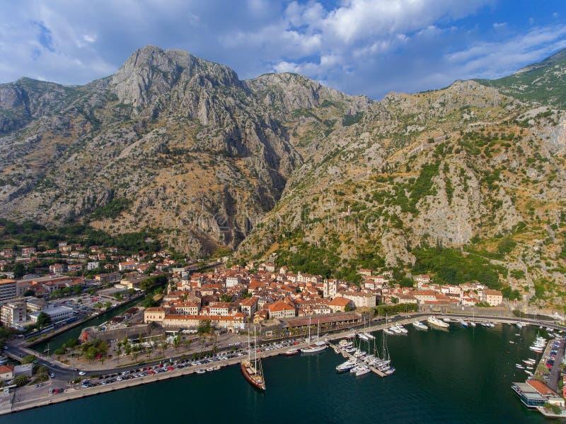 Widok z lotu ptaka zatoka Kotor zdjęcie royalty free