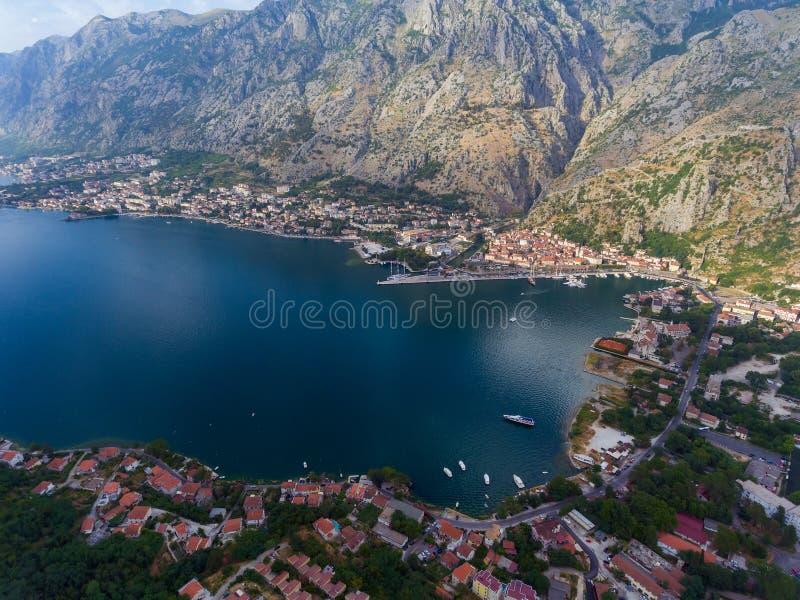 Widok z lotu ptaka zatoka Kotor zdjęcie stock