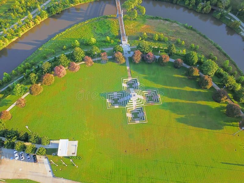 Widok z lotu ptaka zieleni park w w centrum Houston, Teksas, usa obrazy royalty free