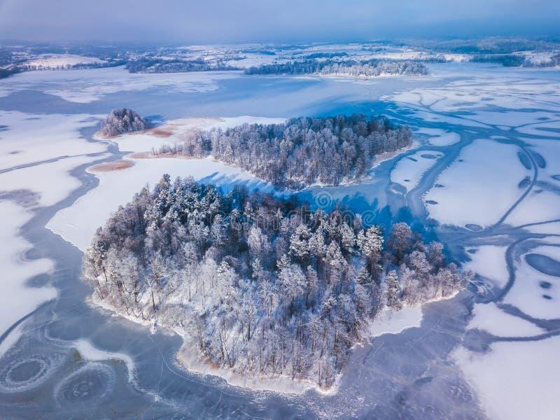 Widok z lotu ptaka zima śnieg zakrywał las i zamarzniętego jezioro chwytających z trutniem w Lithuania z góry fotografia royalty free