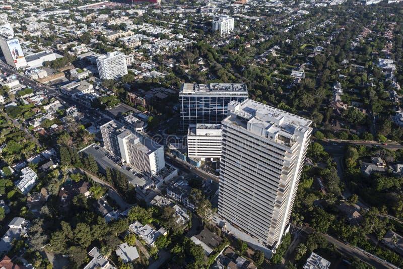 Widok Z Lotu Ptaka zmierzchu bulwar przy Doheny w Los Angeles Kalifornia obraz stock