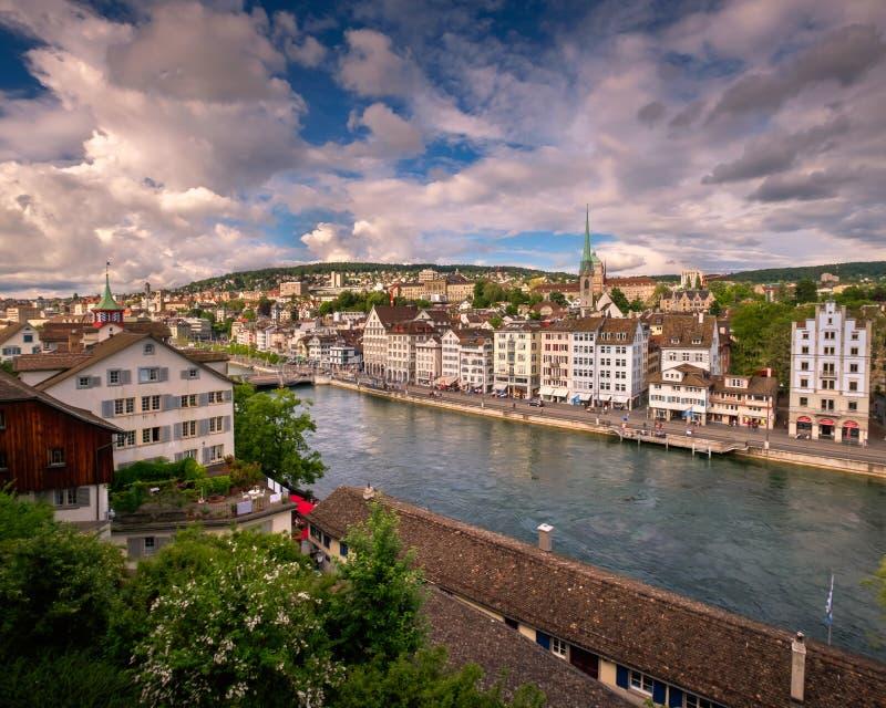 Widok Z Lotu Ptaka Zurich linia horyzontu i Limmat rzeka, Zurich, Switzerl fotografia stock