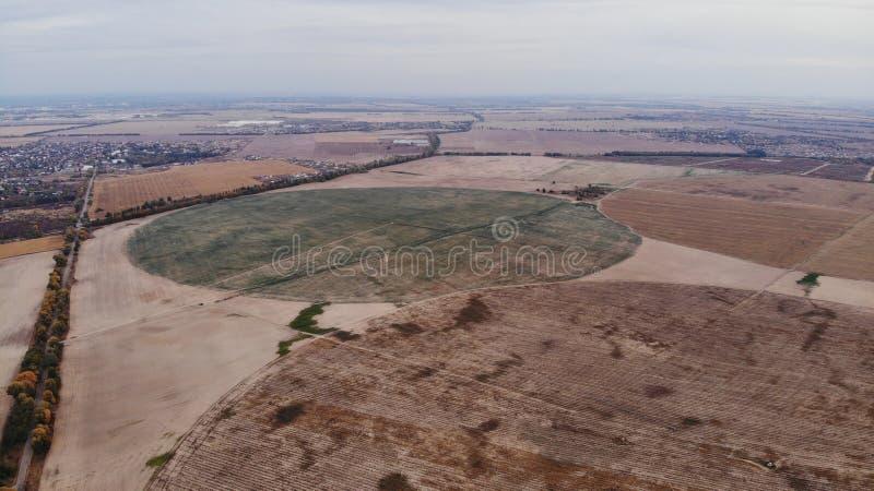 Widok z powietrza na okrągłe pola rolne fotografia royalty free
