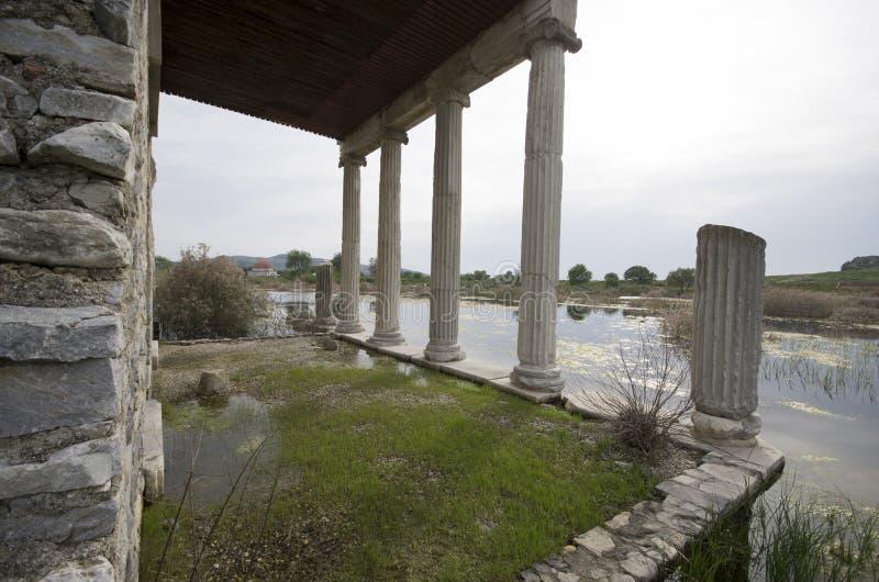 Widok z wewnątrz Apollon świątyni w Miletus antycznym mieście, Turcja fotografia stock
