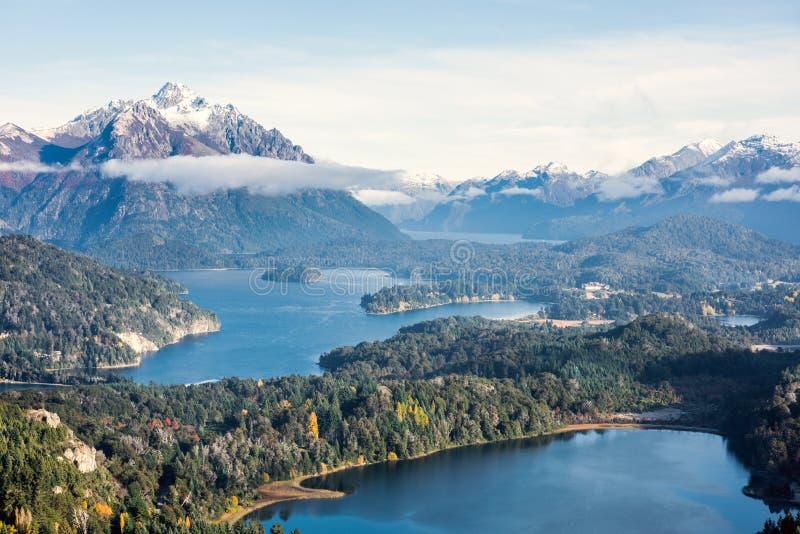 Widok z wierzchu Cerro Companario w Nahuel Huapi parku narodowym, San Carlos De Bariloche fotografia stock