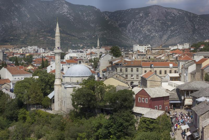 Widok z wierzchu miasta Mostar zdjęcie stock