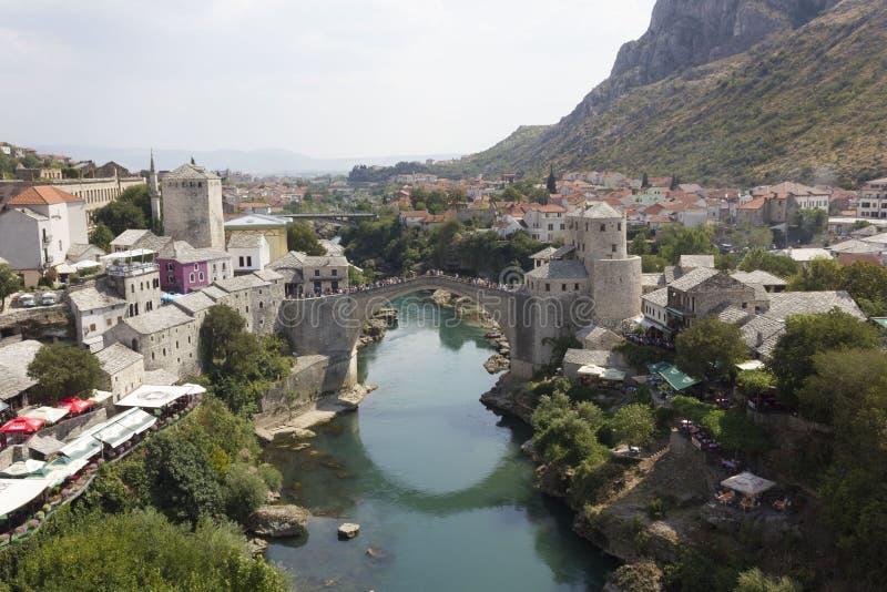 Widok z wierzchu miasta Mostar zdjęcia stock