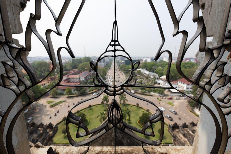 Widok Z wierzchu Patuxai zabytku, Vientiane, Laos zdjęcie royalty free