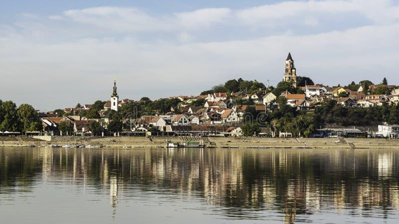 Widok Zemun od Danube rzeki zdjęcia stock
