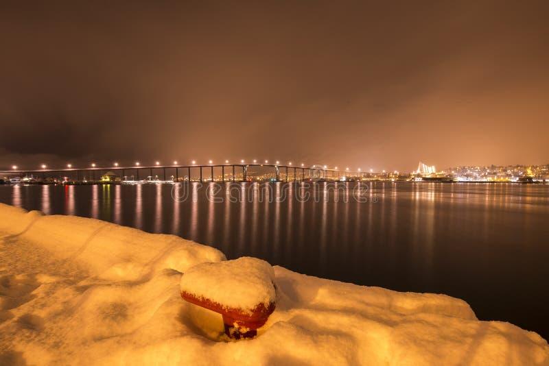 Widok zimy burza zbliża się Tromso, Norwegia zdjęcia stock
