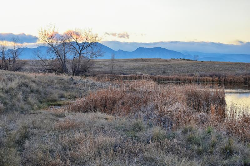 Widoki Josh's Stawowa chodząca ścieżka, Odbija zmierzch w Broomfield Kolorado otaczający ożypałkami, równiny i Skalistej góry l obraz royalty free