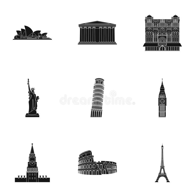 Widoki kraje świat Sławni budynki i zabytki różni kraje i miasta Kraj ikona royalty ilustracja